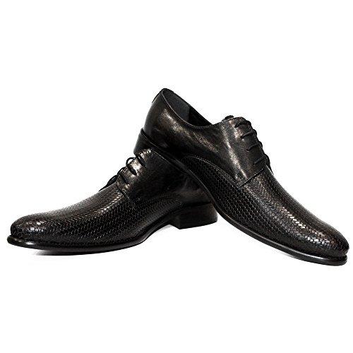 PeppeShoes Modello Winero - Handmade Italiano da Uomo in Pelle Nero Scarpe da Sera - Vacchetta Pelle in Rilievo - Allacciare