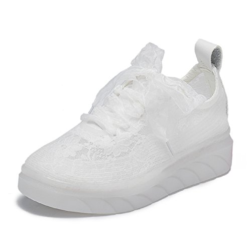 PENGKE Girls Lace Fabric Breathable Running Shoes Athletic Tennis Walking Sneakers for Kid