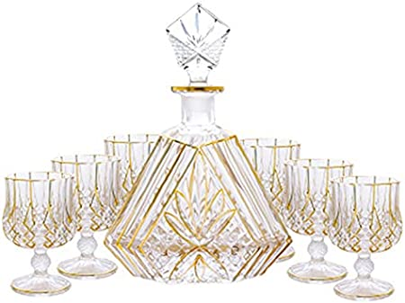 Goodvk Conjunto de Decantores de Whisky Whisky Wine Glass Whiskey Decanter Set 1 PCS Bottle + 6 Gafas Decanters Uso Diario (Color : Clear, Size : 7 Piece Set)