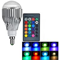 Lifetime Warranty - LifeBee 10W E14 RGB LED Colour Changing Bulb, Dimmable 16 Colour Choices, Mood Lighting, Small Edison Screw for Home Decoration Bar Party KTV Stage Effect Lights Bulbs
