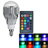 LifeBee 10W E14 RGB LED Colour Changing Bulb, Dimmable 16 Colour Choices, Mood Lighting, Small Edison Screw for Home Decoration Bar Party KTV Stage Effect Lights Bulbs - Lifetime Warranty
