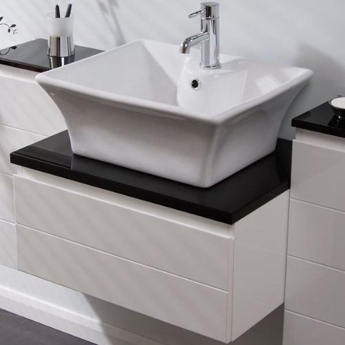 Sink With Countertop: Bathroom Wash Basin White Ceramic Bowl Modern Rectangle