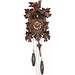 Quartz Cuckoo Clock 5 leaves, 3 birds, with music