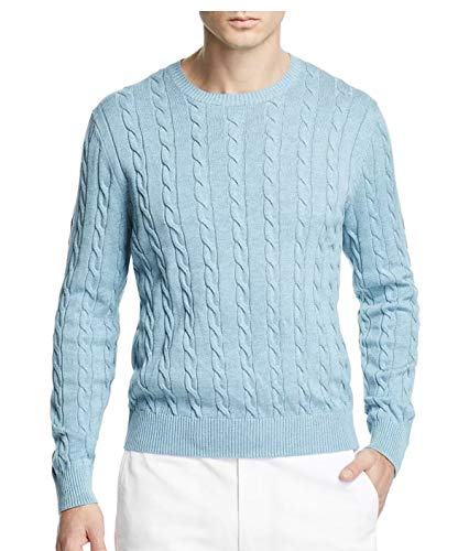 (Brooks Brothers Men's Cable Knit Crewneck Pullover Supima Cotton Sweater (Blue, X-Large))
