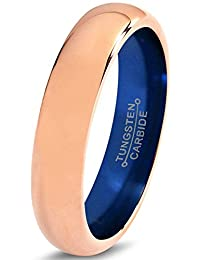 Tungsten Wedding Band Ring 4mm for Men Women Blue 18k Rose Gold Dome Polished Lifetime Guarantee