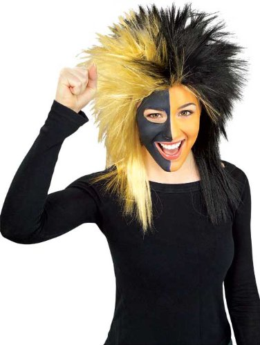 (Rubie's Black and Gold Sports Fan Wig, Black/Gold, One Size)