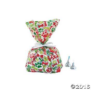 Puppy Dog Christmas Cellophane Bags - 12 (Treat Bags For Christmas)