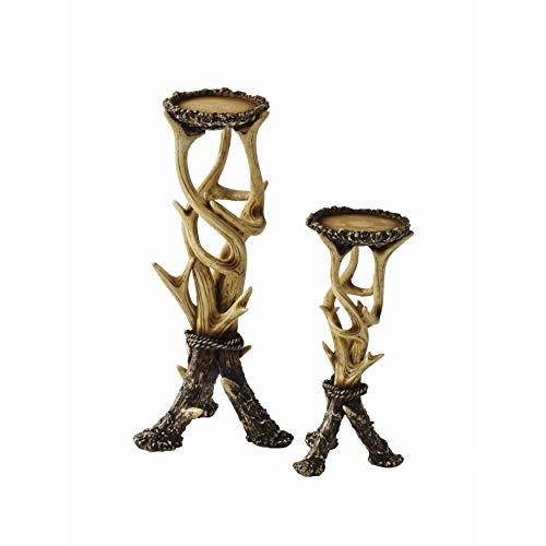 (MISC Set of 2 Deer Antler Candle Holders 5.4