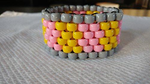 Lemonade Peyote Stitch Kandi Cuff Yellow and Pink Kandi EDM Jewelry Kandi Trading
