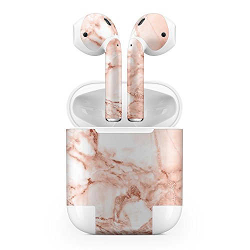 Apple AirPods Skin Kit - Rose Pink Marble & Digital Gold Frosted Foil V8 - Design Skinz Minimal Protective Decal Wrap