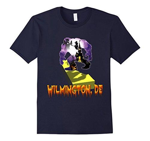 Mens wilmington delaware Bigfoot halloween shirt Medium Navy (Wilmington Halloween)