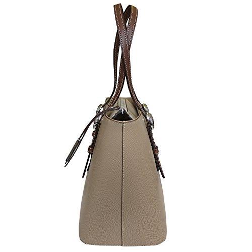 Nicoli 'Briglia' borsa del progettista italiano in pelle tote, borsa shopper - marrone