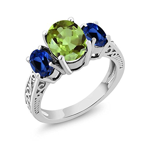 Green Natural Sapphire (2.71 Ct Oval Green Peridot Blue Simulated Sapphire 925 Sterling Silver 3-Stone Ring (Size 7))