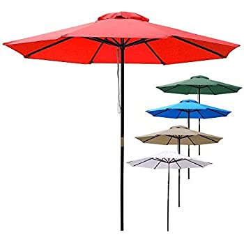 afa21256ca Amazon.com: Yescom 9ft Wooden Outdoor Patio Blue Umbrella W/ Pulley ...