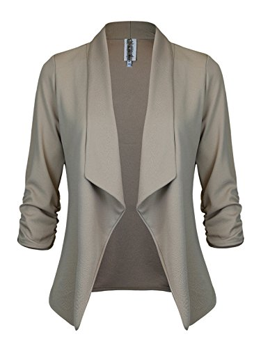 Lined Pointed Flap - Instar Mode Women's Versatile Business Attire Blazers in Varies Styles (B12316 Khaki, Large)