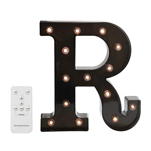(Pooqla LED Marquee Letters with Lights Alphabet Light Up Black Wall Letter Sign with Wireless Timer Remote Control Dimmable for Wedding Home Party Bar Decoration - RC - R)
