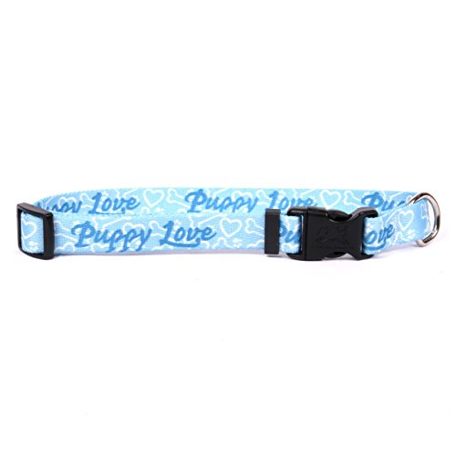 "Yellow Dog Design Puppy Love Blue Dog Collar, Teacup-3/8""..."