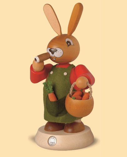 German incense smoker Easter bunny, height 19 cm / 7 inch, original Erzgebirge by Mueller Seiffen