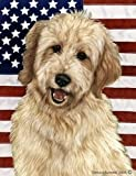Goldendoodle Blonde – Tamara Burnett Patriotic 11 Flag: 28 x 40 inches