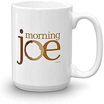 Morning Joe Logo Ceramic Mug, White 15 oz - Official Mug As Seen On MSNBC with Joe Scarborough, Mika Brzezinski and Willie Geist