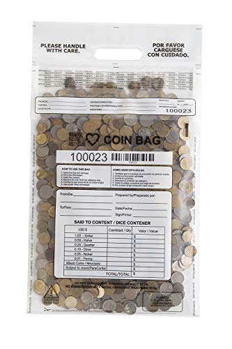 Plastic Coin Bag - USPACKSMART Coin Bags, Self Sealing Coin Plastic Bags, Security Bags, Holds 50 pounds of Coins. 12.5