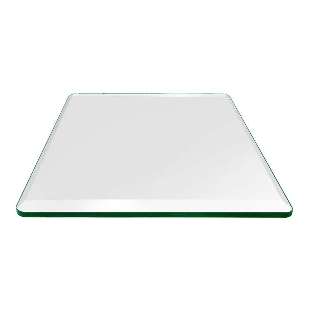 TroySys - 1/4'' Thick Square Glass Table Top (36'' x 36'') | USA Premier Glass Maker | High Strength Tempered Glass with Bevel Radius Edge | Great for Indoor or Outdoor Tables