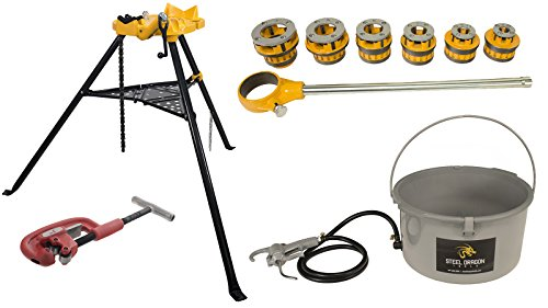 Steel Dragon Tools 12-R Manual Ratchet Pipe Threader Kit 418 Oiler 460 Chain Vise 2A ()