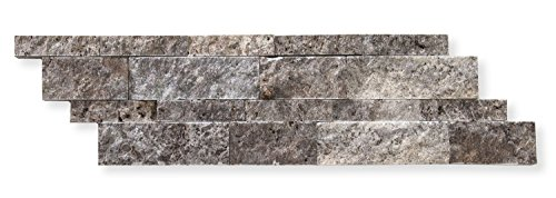 Silver Travertine 6 X 20 Stacked Ledger Wall Panel Tile, Split-faced (SMALL SAMPLE PIECE) (Stone Fireplace Stacked)