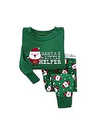 """""""Christmas Santas """"Boys'2 Piece 100% Cotton Long Sleeve Pajama Size 2T-7T"""