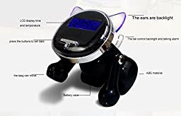 SIS Robot dog talking clock Time signal clock with backlight and temperature display alarm clock for tabletop(Blue)