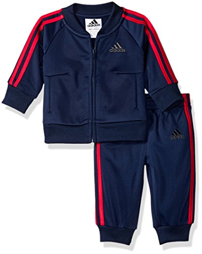 adidas Baby Boys Tricot Baseball Jacket & Jogger Tracksuit, Home Run Collegiate Navy/Red, 3 Months