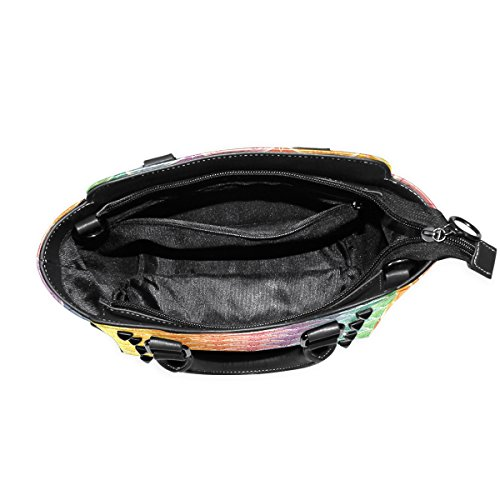 Leather TIZORAX Fan Shoulder Rainbow Fan Bags Tote Rainbow TIZORAX Handbags Women's RHY7R