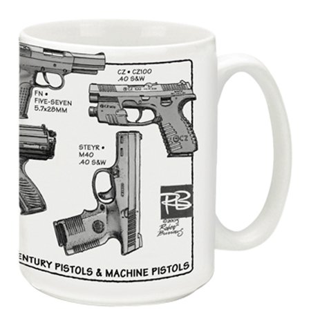 Cuppa Second Amendment Rights 15-Ounce Coffee Mug with 21st Century Pistols