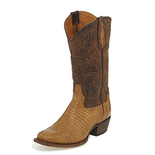 Tony Lama Menns Takbergart Saddle13 Høyde (tl5101) | Fot Brandy Strålende Teju Øgle | Pullon Vestlige Støvler | Cognac / Peanut Sprø Cowboy Skinnmansjett | Håndlaget I Usa