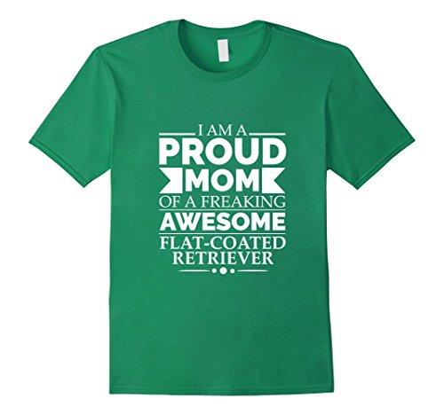 Mens Proud Mom of Awesome Flat-coated Retriever T-shirt Dog Mom Medium Kelly Green