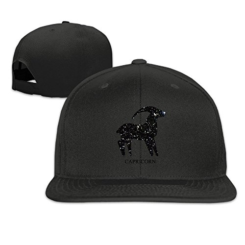 Zodiac Galaxy Animal Goat Horn Snapback Baseball Hip Hop Unisex Hat Black (Wildlife Grand Scale Animal)