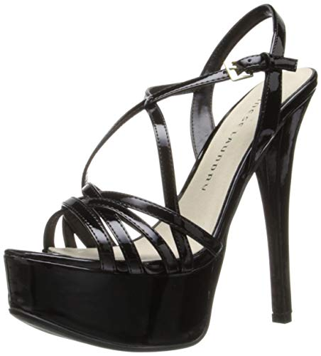 Chinese Laundry Women's Teaser Platform Dress Sandal, Black Patent, 11 M US - Buckle Strapped Platform
