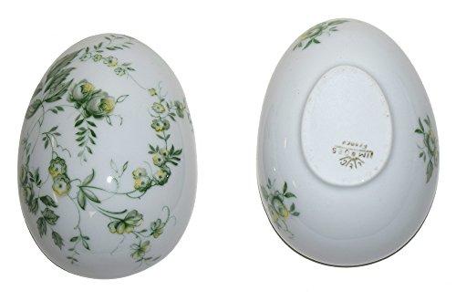Limoges French Egg Trinket Box (Celedon Rose)