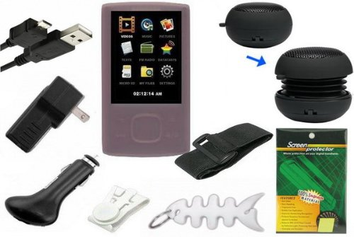 9 items Premium Bundle for Samsung YP-R0 8GB MP3 Player: Includes Pink Silicone Skin Cases, Armband, Belt Clip, LCD Screen Protector, USB Wall Charger, USB Car Charger, 2in1 USB Data Cable, Mini Portable Capsule Speaker and Fishbone Style Keychain