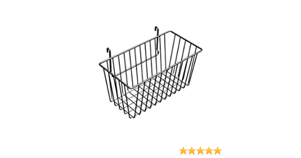 12 x 6 x 6H Narrow Gridwall Basket Black 3 Pcs Work For Grid Panels