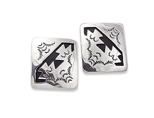 Navajo Vintage Silver Overlay Post Earrings