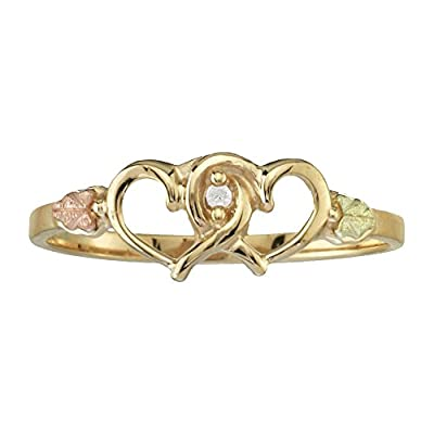 top Black Hills Gold Twin Heart Promise Ring with .01 ct Diamond big discount