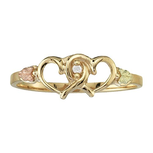 Black Hills Gold Twin Heart Promise Ring with .01 ct Diamond