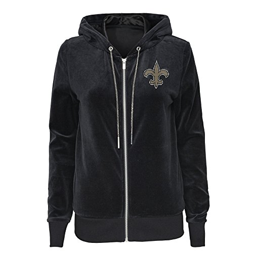 Outerstuff NFL New Orleans Saints Juniors Glitzy Pass Velour Full Zip Hoodie, Black, Juniors Medium(7-9) ()