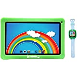 LINSAY NEW F10KGWG 10.1 Kids Tablet Green Bundle With 1.5 Smart Watch Kids Cam Selfie Green up to 32 GB