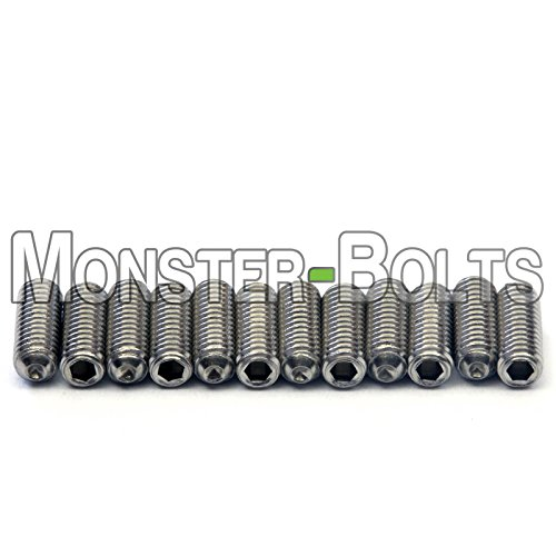 Guitar Saddle Bridge Height Adjustment Hex Screws set (12) for US/Inch and Metric - MonsterBolts (Metric - M3 x 8mm, Stainless Steel)