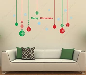 Custom PopDecals - Christmas Decals - Christmas balls - Beautiful Tree Wall  Decals for Kids Rooms