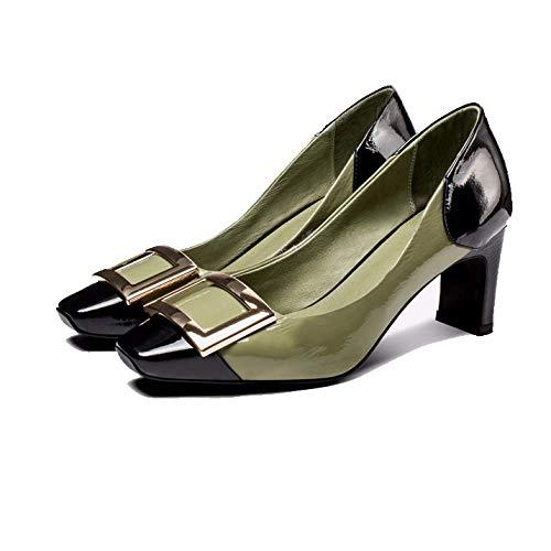 tête pour dos carrée chaussures élégance mode haut noir vert talon Zpedy simple femmes avec qIpt0qwn5