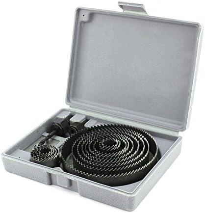 16ピースホールソーセットダウンライトインストーラーキットx 3/4インチから5インチ(木材、石膏ボード、プラスチック、薄いPVC用のとげと取り付けプレート付き)