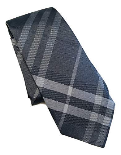 - New Authentic Burberry London Manston Beat/Grey Check Skinny Italian Silk Tie